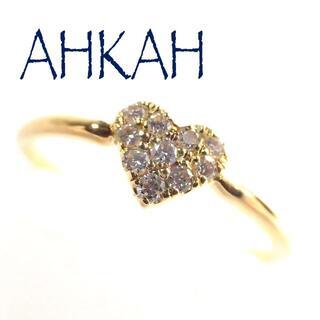 AHKAH - アーカー AHKAH K18YG ダイヤ ハート パヴェ リング 0号