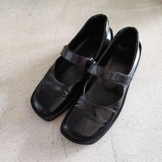 プラダ(PRADA)のオールド プラダ エナメルフラットシューズ 厚底 スクエアトゥー PRADA(ローファー/革靴)