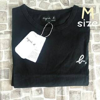 agnes b. - アニエスベー ブラック 半袖 Tシャツ ロゴ刺繍 即日発送 新品
