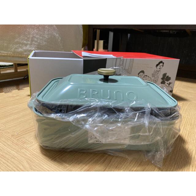 【新品】ブルーノ コンパクトホットプレート(スモーキーグリーン) インテリア/住まい/日用品のキッチン/食器(調理道具/製菓道具)の商品写真