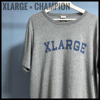 XLARGE - X-LARGE × champion コラボ 半袖 Tシャツ デカロゴ グレー