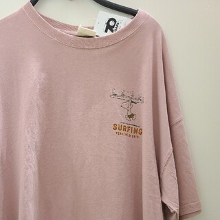 スヌーピー(SNOOPY)の新品 4L サーフィン スヌーピー Tシャツ レディース ピンク 大きいサイズ(Tシャツ(半袖/袖なし))