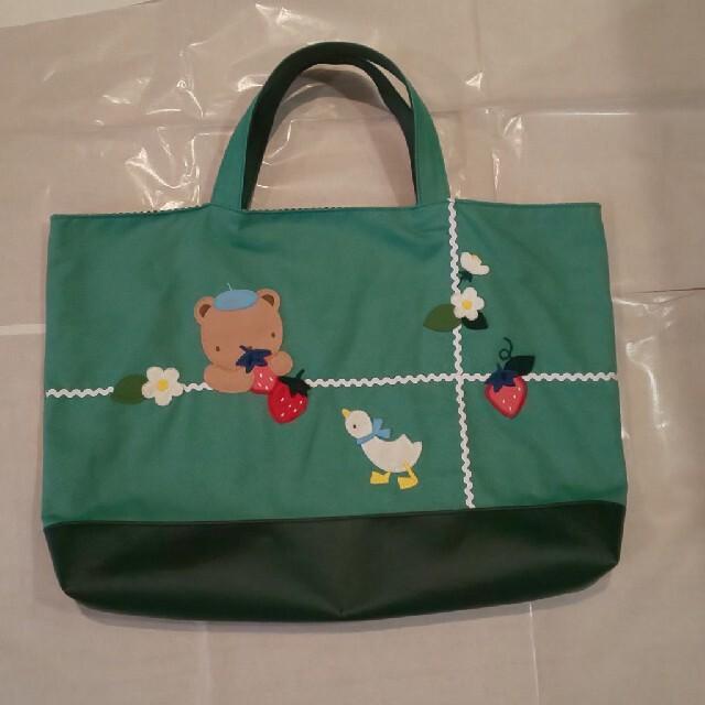 familiar(ファミリア)の【nana様専用です】ファミリア デニムバッグ マチ付き グリーン  キッズ/ベビー/マタニティのこども用バッグ(レッスンバッグ)の商品写真