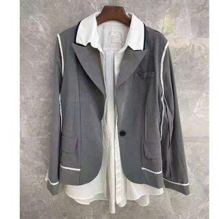 サカイ(sacai)のSacai サカイ テーラードジャケット 重ね着風 不規則 サイズ S(テーラードジャケット)