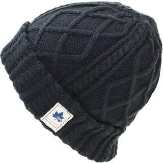 ロゴス(LOGOS)のLOGOS ロゴス ニット帽 ワッチ ケーブル編み ロゴパッチ付き★ブラック新品(ニット帽/ビーニー)