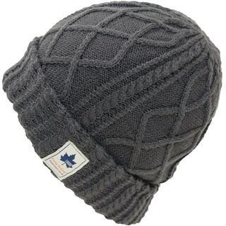 ロゴス(LOGOS)のLOGOS ロゴス ニット帽 ワッチ ケーブル編み ロゴパッチ付き★グレー新品(ニット帽/ビーニー)