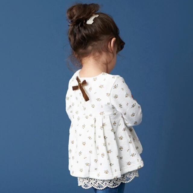petit main(プティマイン)のプティマイン 裏起毛 裾レースチュニックトレーナー 110 キッズ/ベビー/マタニティのキッズ服女の子用(90cm~)(Tシャツ/カットソー)の商品写真