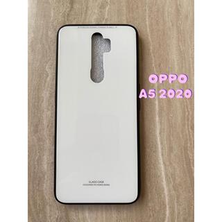 オッポ(OPPO)のシンプル&可愛い♪耐衝撃背面9HガラスケースOPPO A5 2020 白ホワイト(Androidケース)