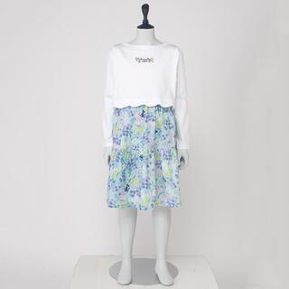 アナスイミニ(ANNA SUI mini)の新品タグ付き☆アナスイミニ☆小花柄 ドッキングワンピース☆白×グリーン 140(ワンピース)