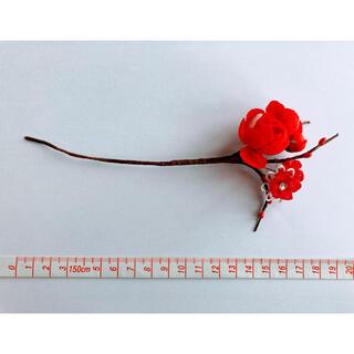 かんざし、髪飾り(紅色の花)