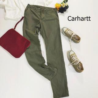 カーハート(carhartt)のカーハート チノパン カーキ 長ズボン 革ロゴ シンプル サイズ28×32 S(チノパン)