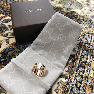 Gucci - GUCCI、新品同様 アイコンワイドリング。K18、ピンクゴールド、ダイヤ10P
