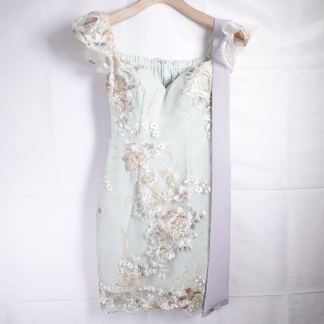 JEWELS(ジュエルズ)のJEWELS オフショルダーミニドレス レディース スモーキーミント レディースのフォーマル/ドレス(ミニドレス)の商品写真