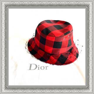 ディオール(Dior)のDIOR クリスチャンディオール ハット トロッター ロゴ ベール付き 赤 58(ハット)