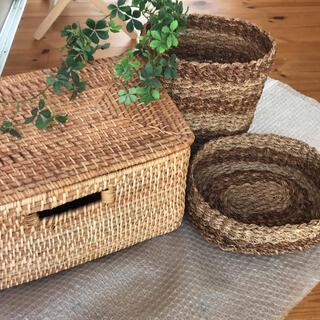 【まとめて2つ】無印良品 バスケット 編み かご 小物入れ蓋付き 収納ボックス