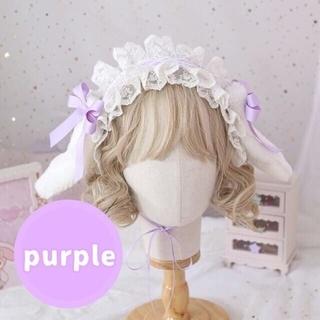 うさ耳ヘッドドレスコスプレロリータ ゴスロリハロウィン仮装イベント紫可愛い❤️