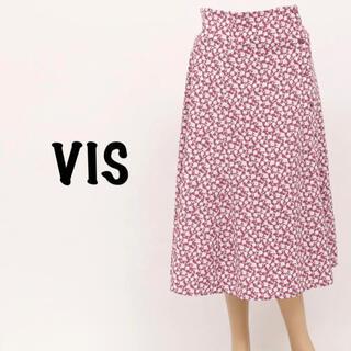 ヴィス(ViS)の【未使用】vis ヴィス 総花柄 ロングスカート パープル Mサイズ(ロングスカート)