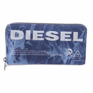 ディーゼル(DIESEL)のディーゼル 長財布 ラウンドファスナー デニム ロゴ 青 ブルー(長財布)