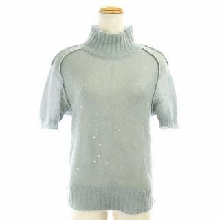 フェンディ(FENDI)のフェンディ サマーニット セーター ハイネック 半袖 スパンコール ライトブルー(ニット/セーター)