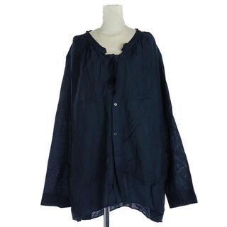 パドカレ(pas de calais)のパドカレ ブラウス シャツ リボン 長袖 36 S 紺(シャツ/ブラウス(長袖/七分))