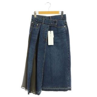 サカイ(sacai)のサカイ 切替デニムスカート ラップ ロング ミモレ Aライン 0 インディゴ(ロングスカート)