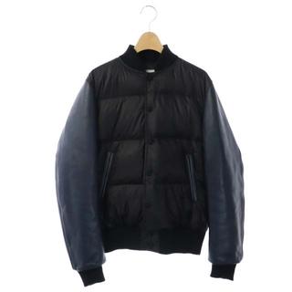 サカイ(sacai)のサカイ sacai 袖レザー切替ダウンジャケット アウター 牛革 2 黒 紺(ダウンジャケット)