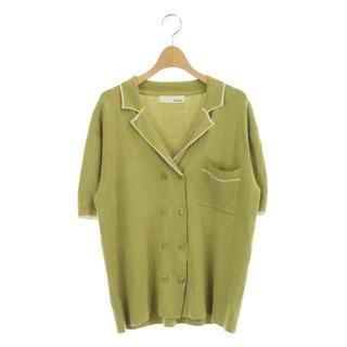 リリーブラウン(Lily Brown)のリリーブラウン ラインニットシャツ ダブル 半袖 ONE 黄緑(シャツ/ブラウス(半袖/袖なし))