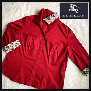 バーバリー(BURBERRY)のみち様専用  バーバリー ロンドン ノバチェック 開襟シャツ 刺繍ロゴ 15号(シャツ/ブラウス(長袖/七分))