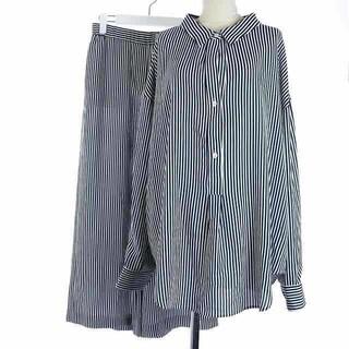 セオリー(theory)のセオリー 17AW セットアップ シャツ パンツ 長袖 ストライプ S 白 紺(シャツ/ブラウス(長袖/七分))