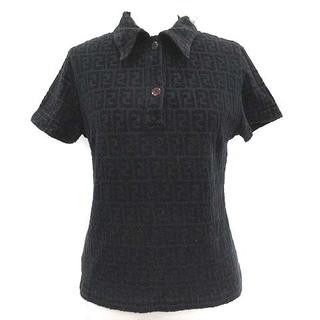 フェンディ(FENDI)のフェンディ FENDI ポロシャツ ズッカ柄 パイル地 半袖 44 L 黒(ポロシャツ)