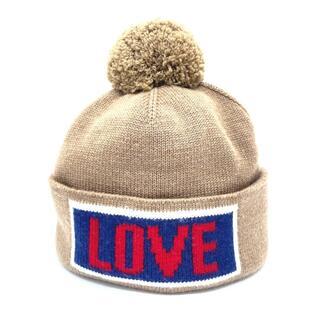 フェンディ(FENDI)の美品 フェンディ FXQ056 LOVE ポンポン ニット帽 帽子 ベージュ(ニット帽/ビーニー)