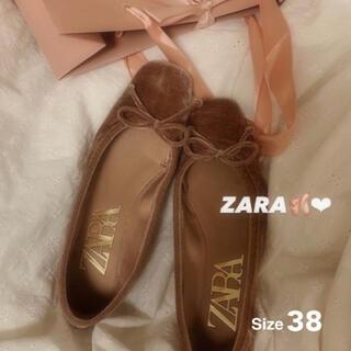 ZARA - 新品未使用 ZARA*リボン付きベルベット地バレリーナシューズ