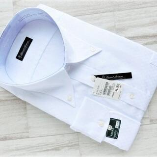 ボタンダウンドレスシャツ 白シャドー アジャスタブルカフス 5L(48-90)
