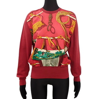 エルメス(Hermes)のエルメストップス 長袖ニット レッド赤 マルチカラー 40802002073(ニット/セーター)