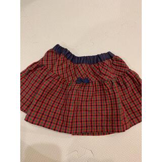 familiar - ファミリア 赤チェック リバーシブル スカート 90