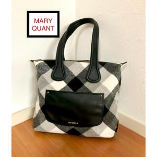 マリークワント(MARY QUANT)のマリー クワント モノトーンチェックデザイン レディース ショルダートートバッグ(ショルダーバッグ)