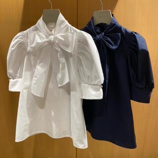 snidel - リボンシャツBL (店舗限定)