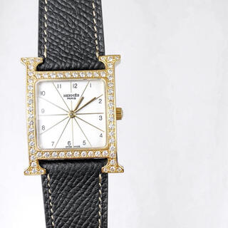 Hermes - 【仕上済】エルメス Hウォッチ ゴールド ダイヤ メンズ 腕時計