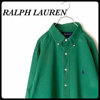 Ralph Lauren - 【定番アイテム!】ラルフローレン◎シャツ 刺繍ロゴ 古着 グリーン