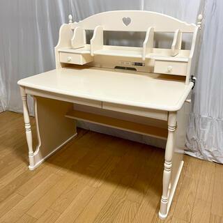 カリモクカグ(カリモク家具)の【karimoku】デスク+ブックスタンド(プリンセスアイボリー色) '09年製(学習机)