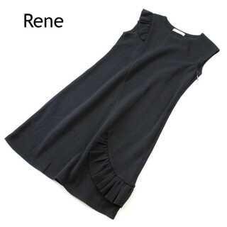 René - ルネ★コットン フリル フレンチスリーブ ニット ワンピース 黒系 36(S)