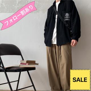 メンズ シャツ 長袖 新品 M L 秋 冬 無地 シンプル ロゴ カジュアル 黒