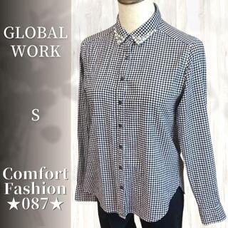 GLOBAL WORK - GLOBAL WORK グローバルワーク ビジュー付き ギンガムチェック シャツ