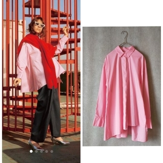 ENFOLD - ENFOLD 2020 アシンメトリーシャツ ピンク 定価29700円