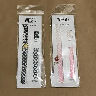 ウィゴー(WEGO)のWEGO タトゥーチョーカーセット フラワー 黒 ローズ ピンク(ネックレス)