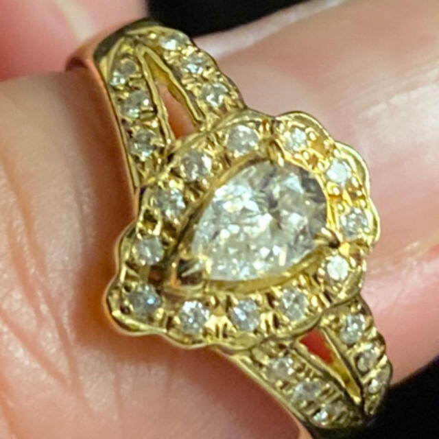 k18雫ダイヤモンドリング レディースのアクセサリー(リング(指輪))の商品写真