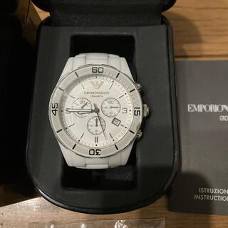 Emporio Armani - エンポリオアルマーニ 腕時計 セラミカ クロノグラフ 電池新品 箱ケース付き