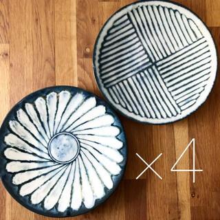 美濃焼 花 プレート カレー皿 パスタ皿 22cm   4枚