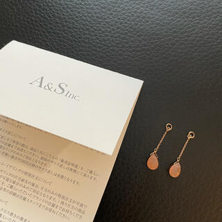 agete - アガット オレンジムーンストーン K10ピアスチャーム
