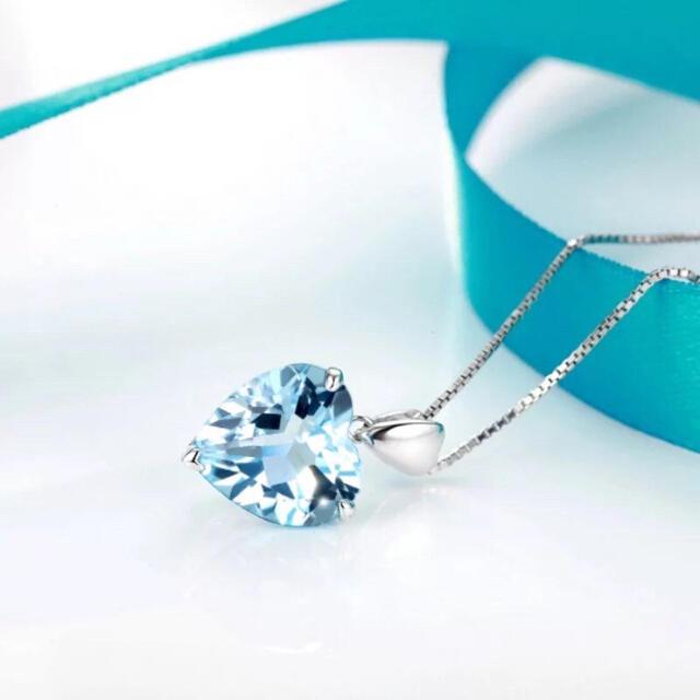 R116 ネックレス ブルーアクアマリン 純銀チェーン ハート 高級 プレゼント レディースのアクセサリー(ネックレス)の商品写真
